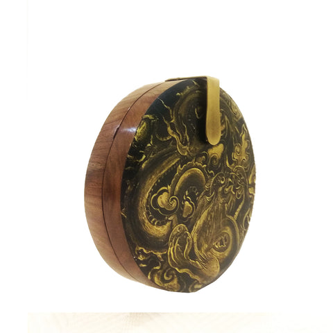 Where be Dragons, Round Wood Clutch, Gold & Black