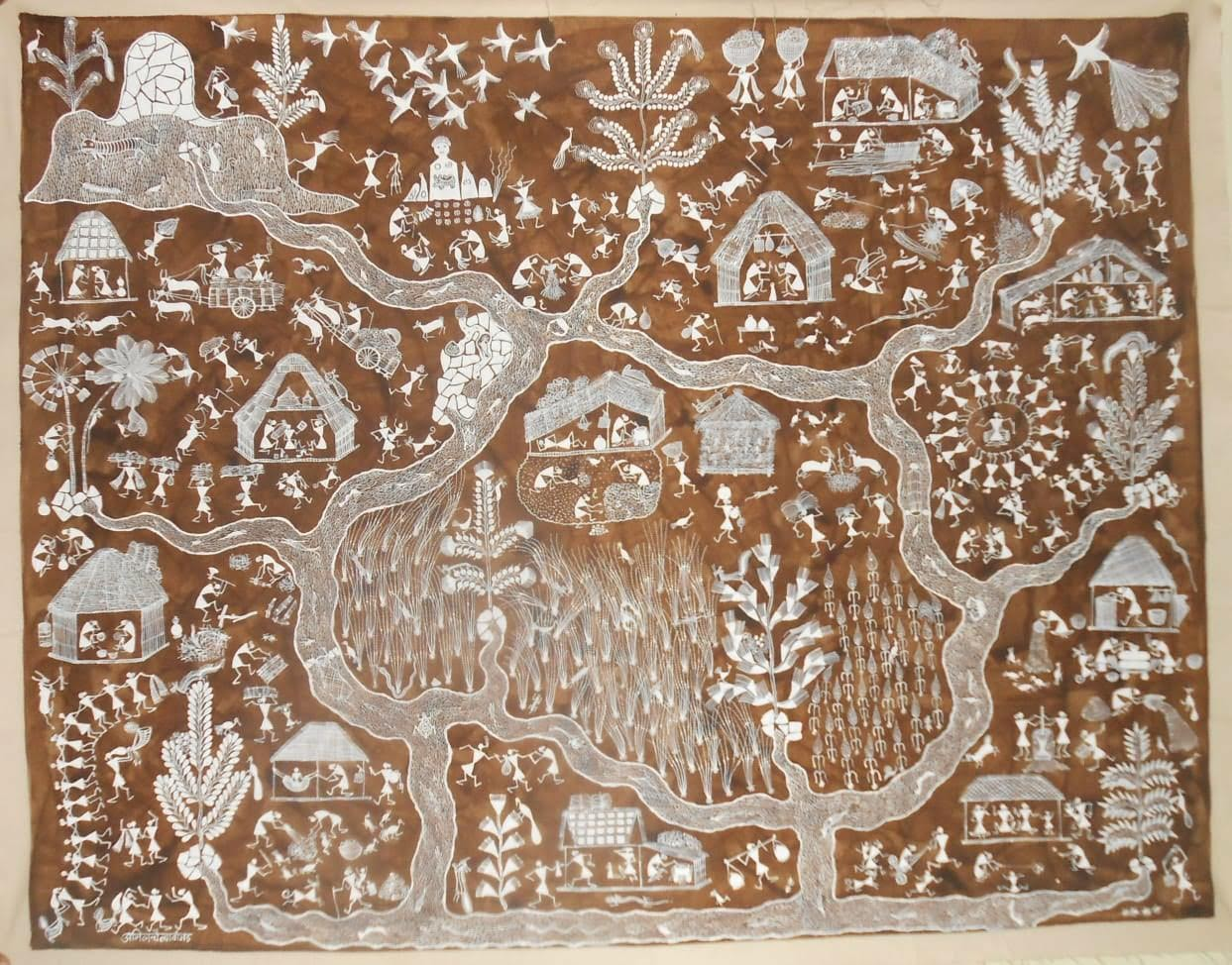 Village Life, Warli painting by Anil Wangad