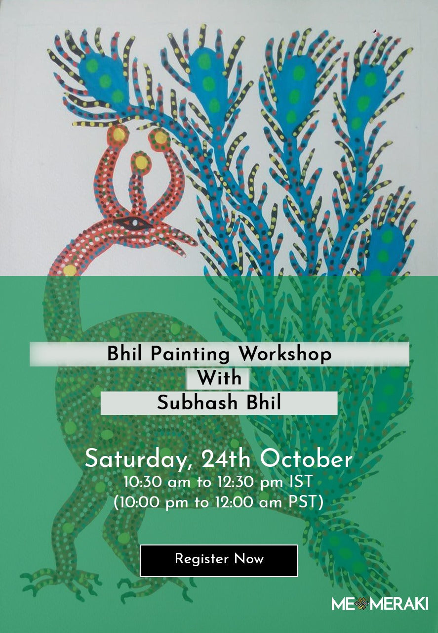 BUY RECORDING: ONLINE BHIL PAINTING WORKSHOP WITH SUBHASH BHIL