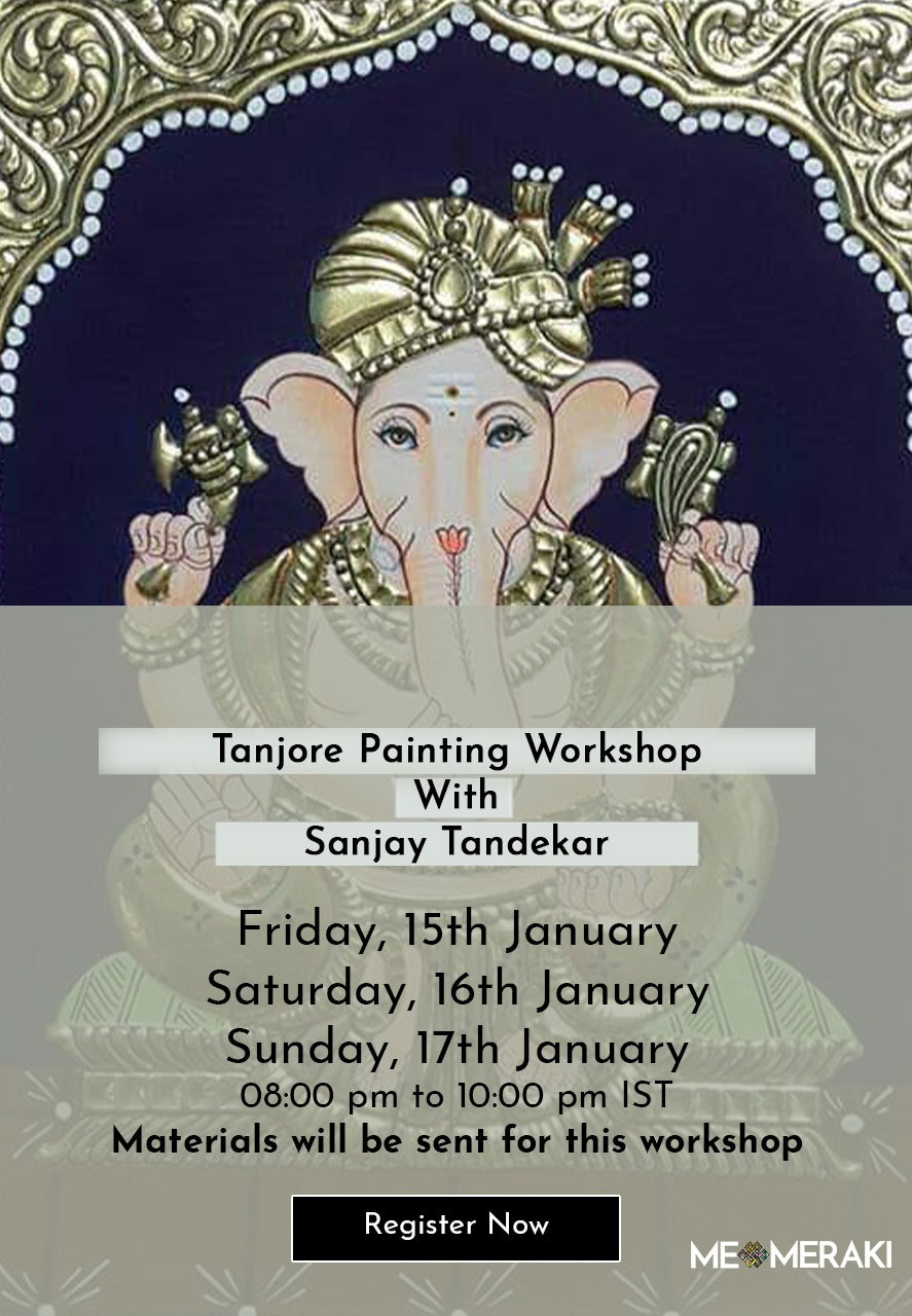 BUY RECORDING: ONLINE TANJORE WORKSHOP WITH SANJAY TANDEKAR – MATERIALS INCLUDED