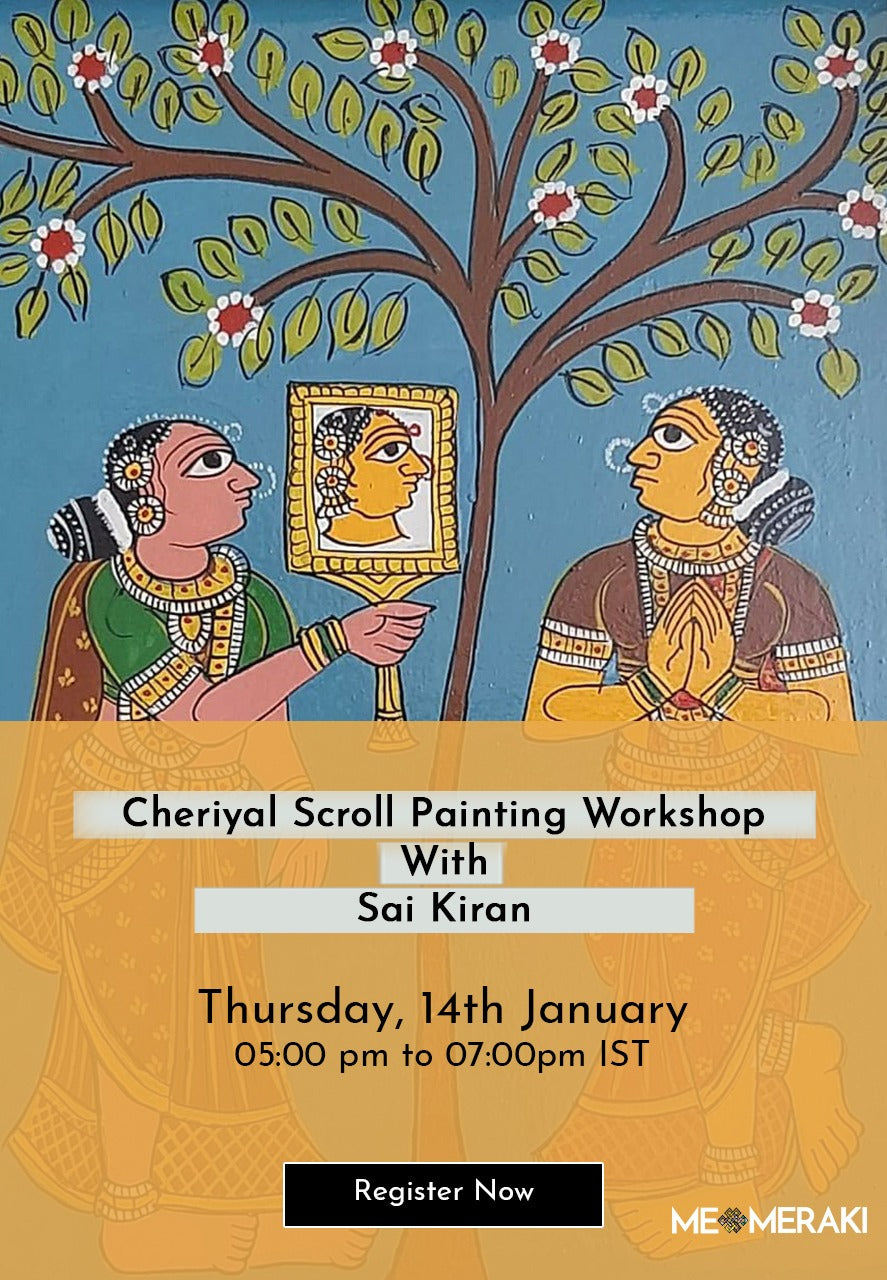 BUY RECORDING: ONLINE CHERIYAL SCROLL WORKSHOP BY SAI KIRAN
