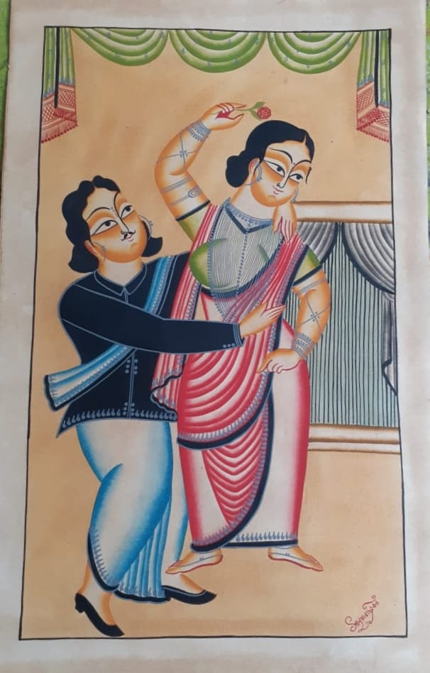 BABU BIWI (HUSBAND WIFE): handpainted in Kalighat style by Manoranjan Chitrakar