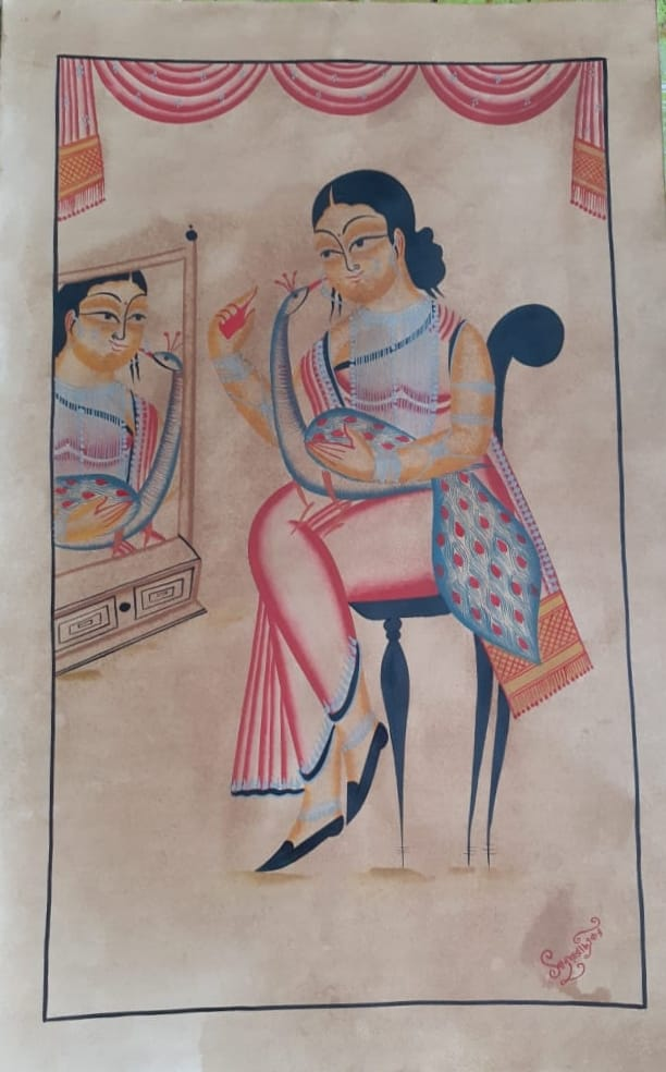 Madam (The Lady): handpainted in Kalighat style by Manoranjan Chitrakar