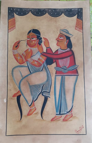 Memsahib (Madam), handpainted in Kalighat style by Manoranjan Chitrakar