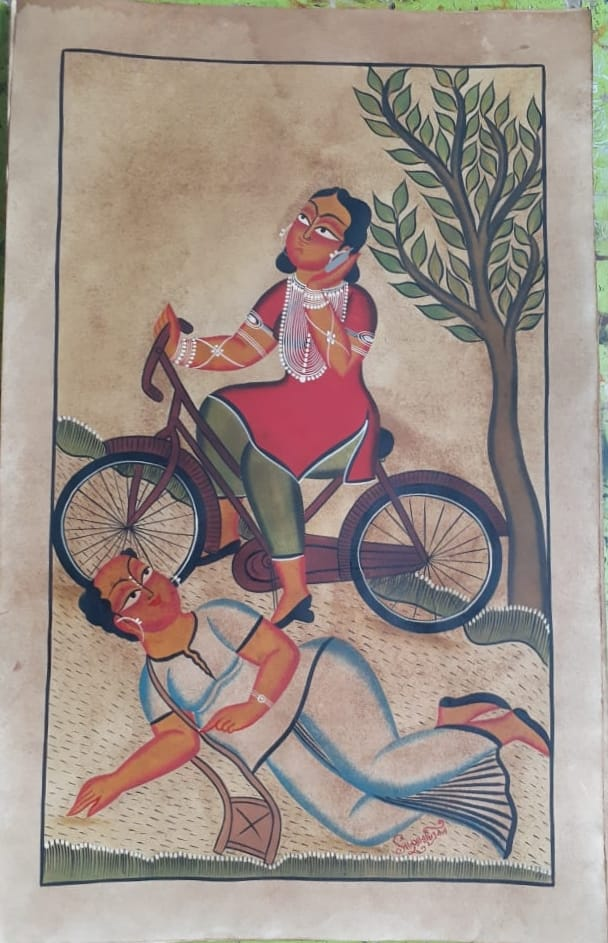 My Bicycle, handpainted in Kalighat style by Manoranjan Chitrakar