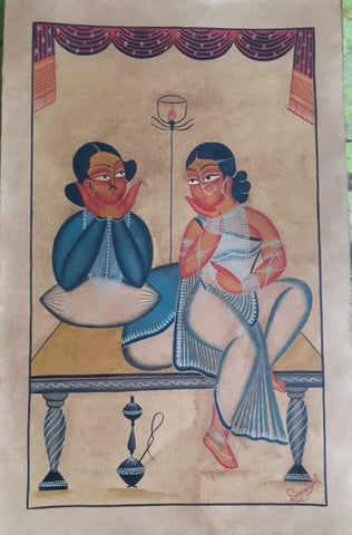 Babu Biwi (Husband Wife), handpainted in Kalighat style by Manoranjan Chitrakar