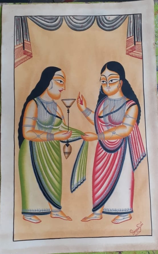 Do Saheli (Two Friends), handpainted in Kalighat style by Manoranjan Chitrakar