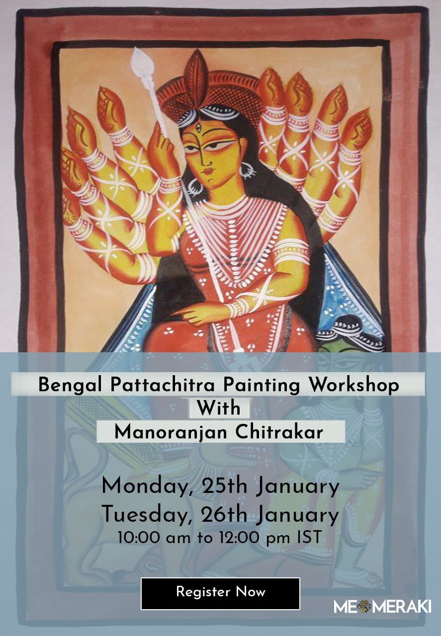 Buy recording: LIVE ONLINE BENGAL PATTACHITRA ART WORKSHOP BY MANORANJAN CHITRAKAR (suitable for US timezone too)
