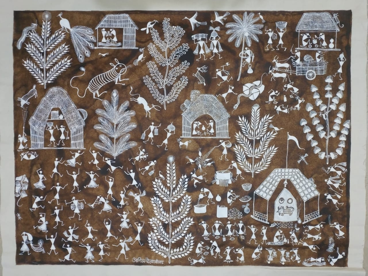 Village Life: Warli painting by Anil Wangad