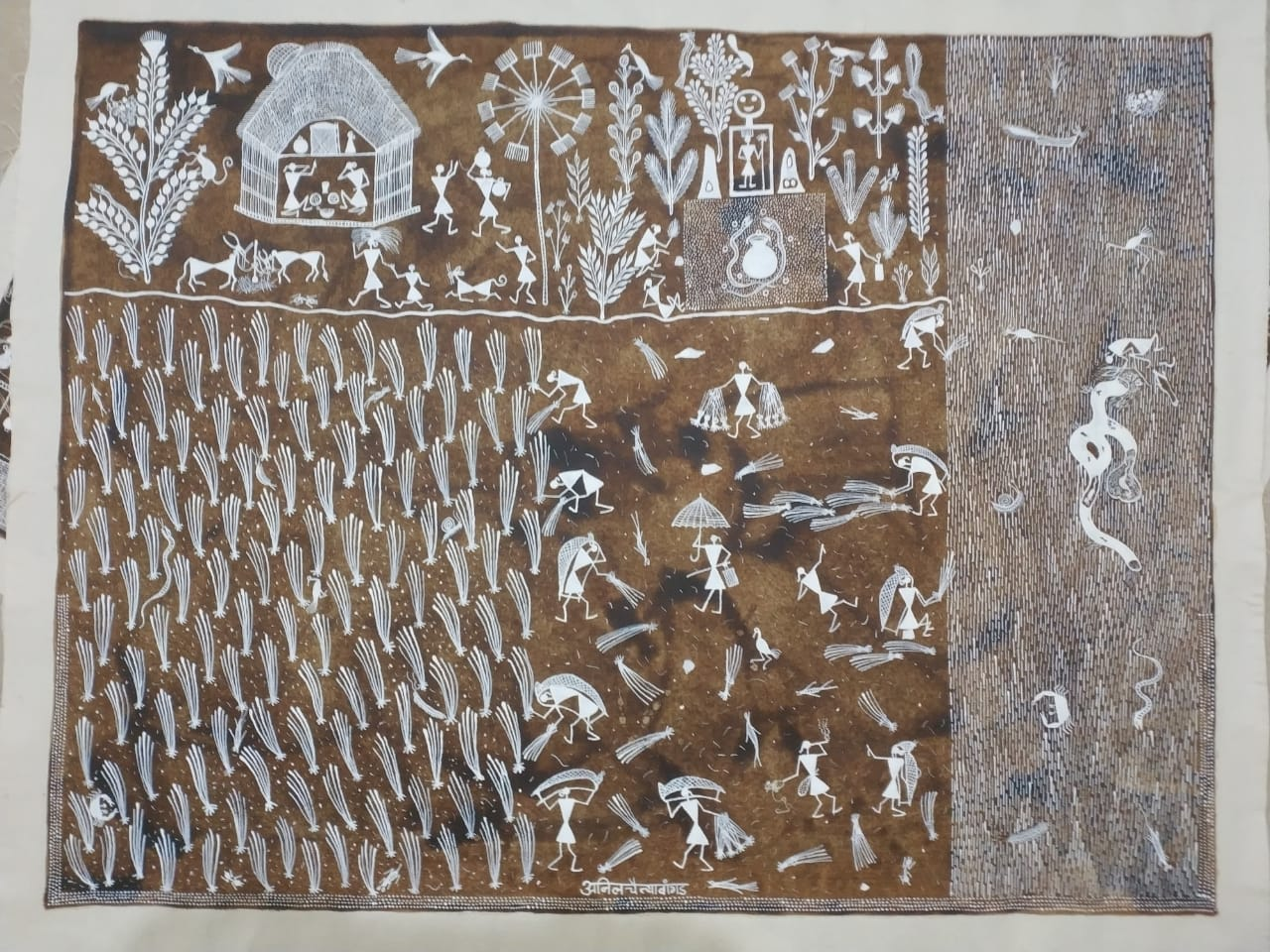 Village Life : Warli painting by Anil Wangad