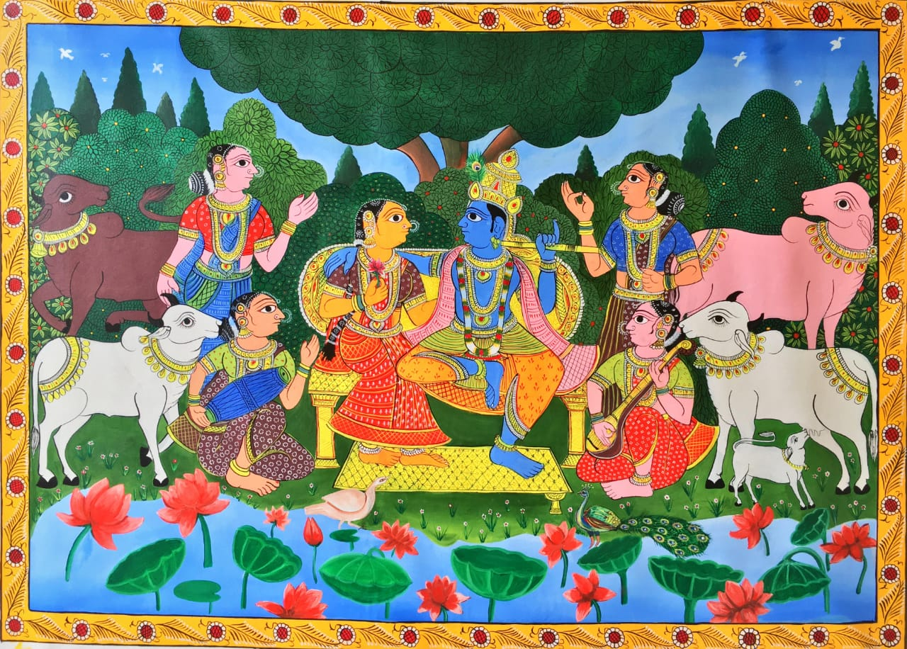 Radha Krishna , CHERIYAL SCROLL PAINTING by Sai Kiran
