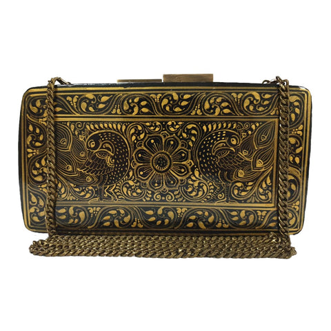 A TALE OF TWO LOVERS, GOLD AND BLACK RECTANGLE PAPER MACHE CLUTCH