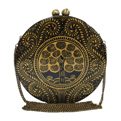 SEEDS OF LOVE, GOLD AND BLACK ROUND PAPER MACHE CLUTCH