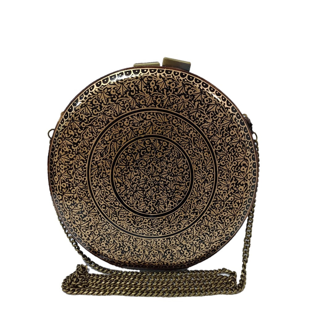 GOLD CHINAR, ROUND WOOD CLUTCH