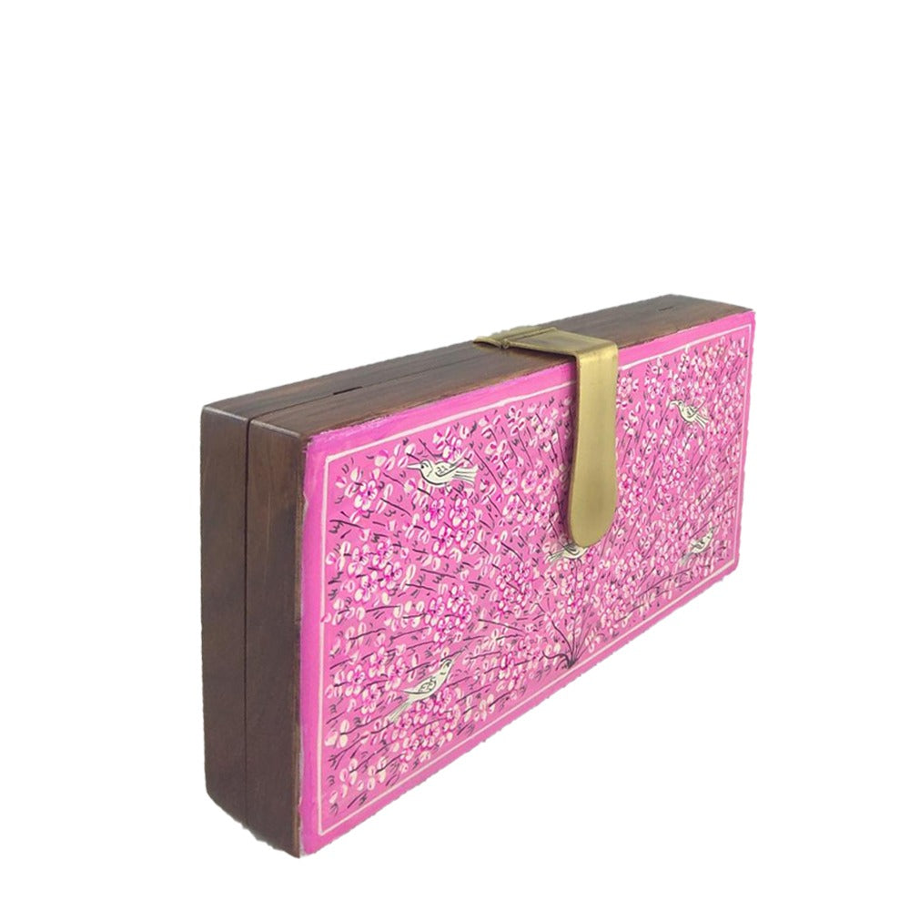 Tree of Life, pink wood clutch