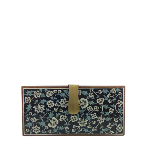 White Flowers, Blue Leaves wood clutch