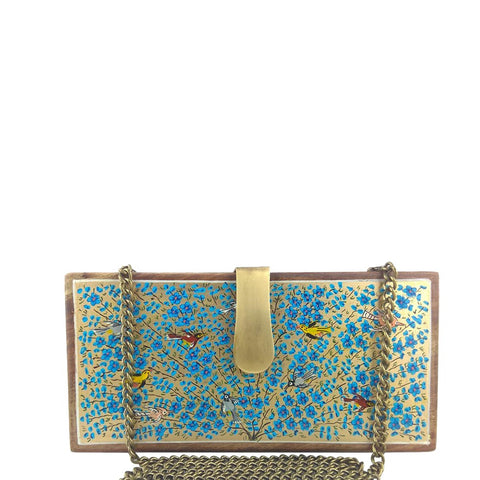 Tree of Life, blue and gold wood clutch
