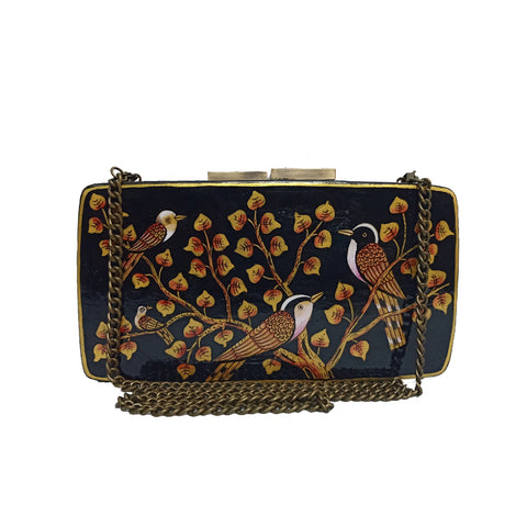 BIRDS OF A FEATHER , RECTANGLE PAPER MACHE CLUTCH