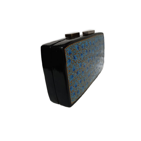 BLUE FLOWERS , RECTANGLE PAPER MACHE CLUTCH