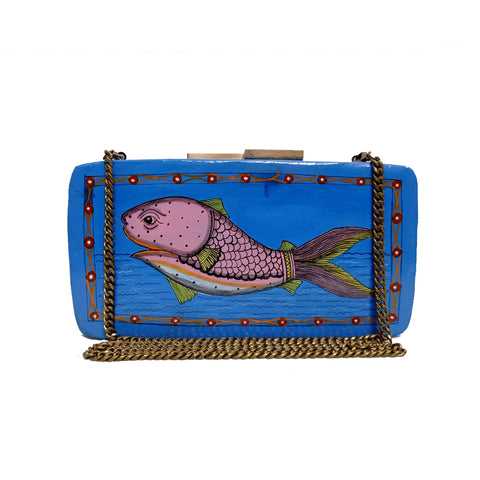 THE FISH , RECTANGLE PAPER MACHE CLUTCH