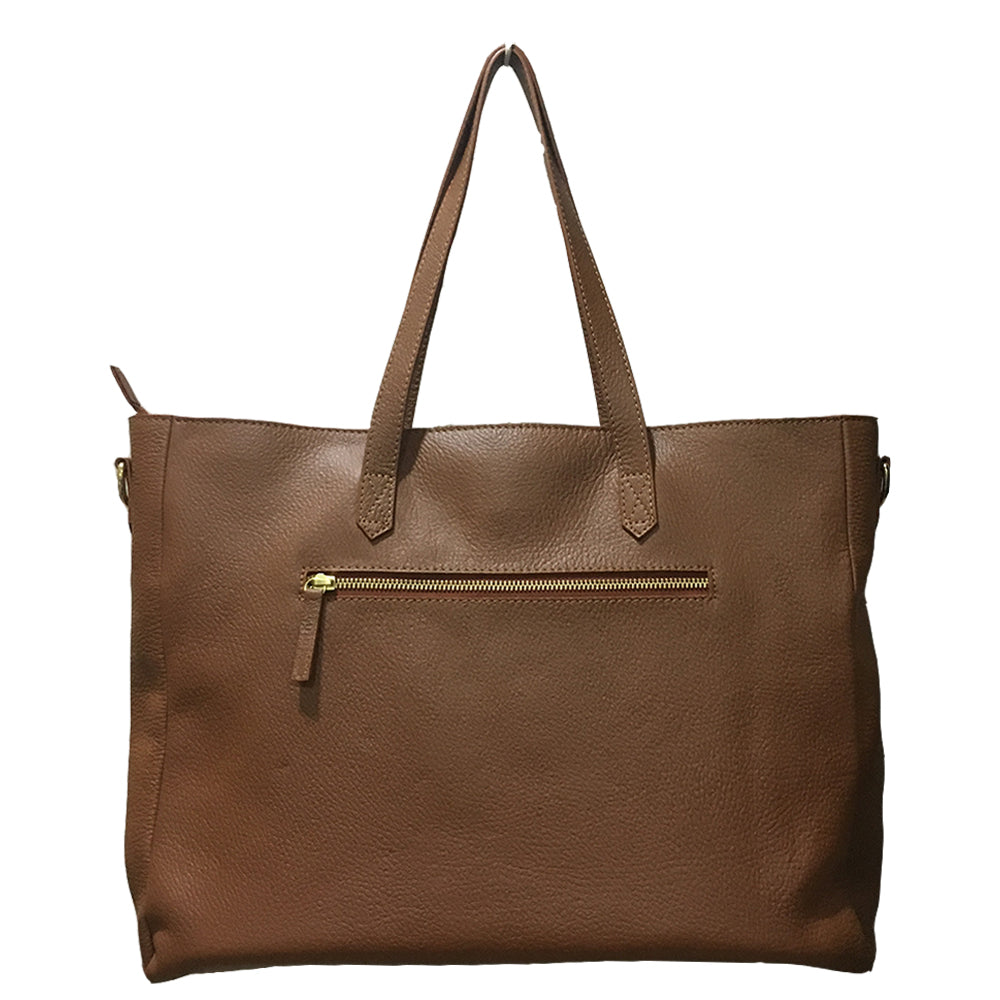 WHITE FLOWERS, TAN LEATHER TOTE BAG