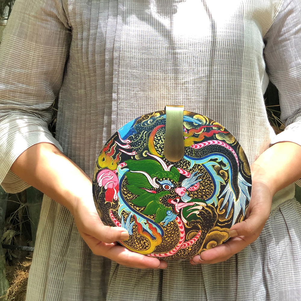 WHERE BE DRAGONS, ROUND WOOD CLUTCH