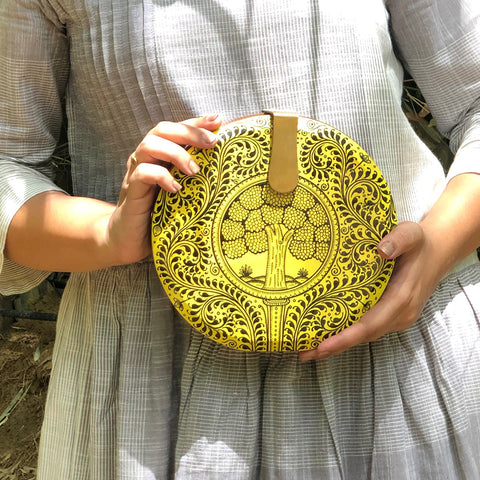 Be Like Lotus, yellow wood clutch