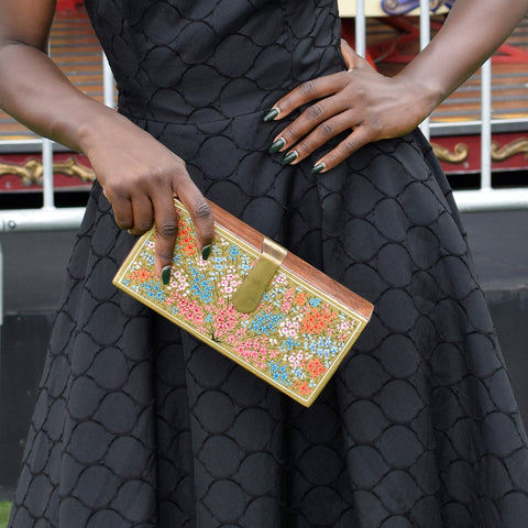 Where be Dragons, Rectangle Clutch Black and Gold