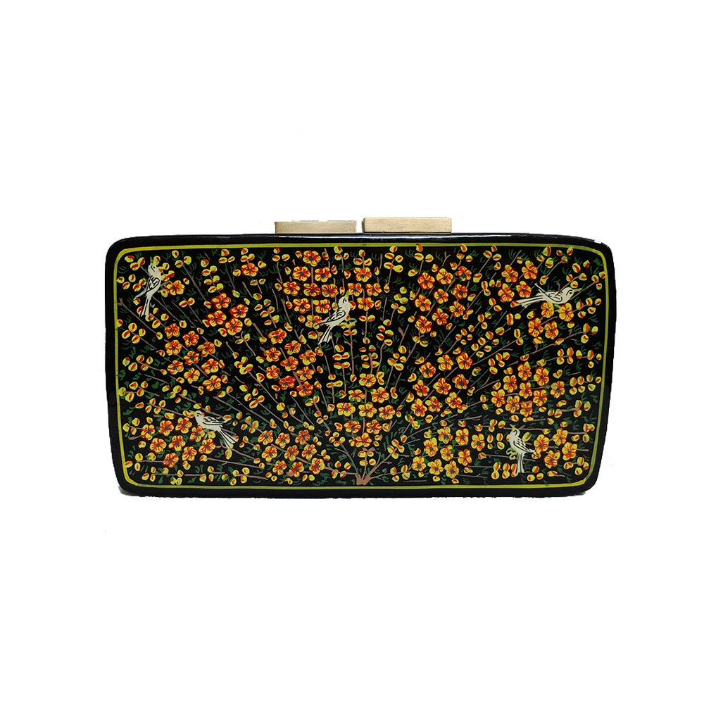 TREE OF LIFE , RECTANGLE PAPER MACHE CLUTCH