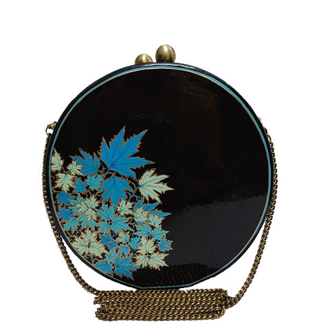 BLUE CHINAR, ROUND PAPER MACHE CLUTCH