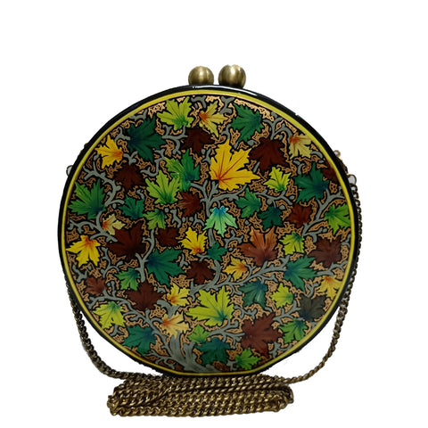 GREEN CHINAR, ROUND PAPER MACHE CLUTCH