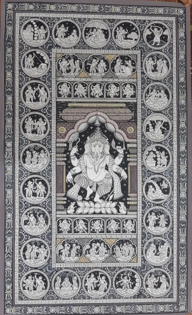 The story of Ganesha , handpainted in Pattachitra art by Apindra Swain