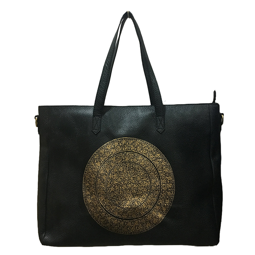 GOLD CHINAR, BLACK LEATHER TOTE BAG