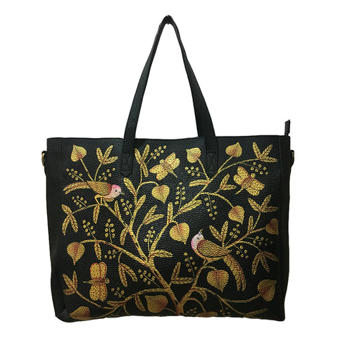 BE LIKE LOTUS, BLACK LEATHER TOTE BAG