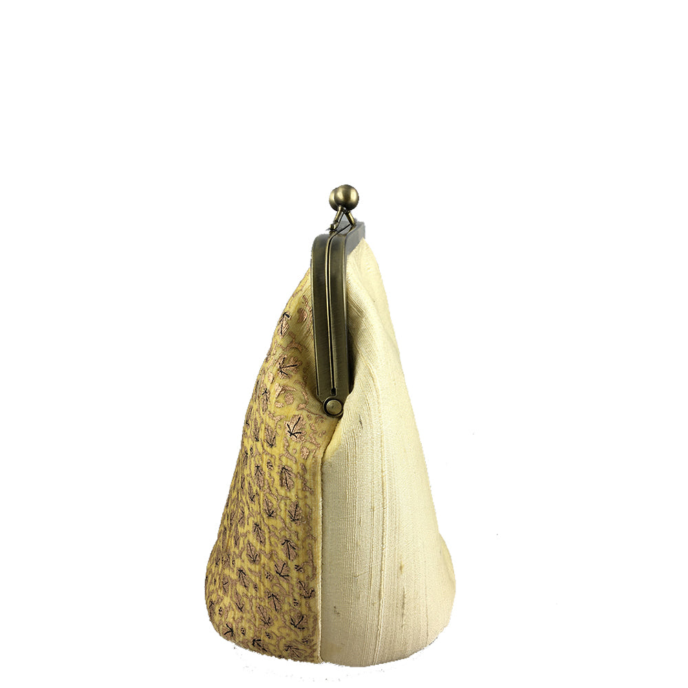 GOLD CHINAR, WHITE SILK CLUTCH