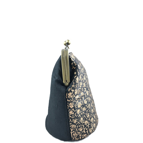 GOLD CHINAR, BLACK SILK CLUTCH