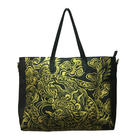 WHERE BE DRAGONS, BLACK LEATHER TOTE BAG