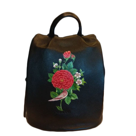 Flowers, Miniature Art on Maroon Tote