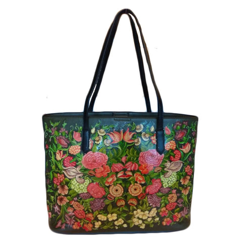 Web of Flowers , Olive Green Tote