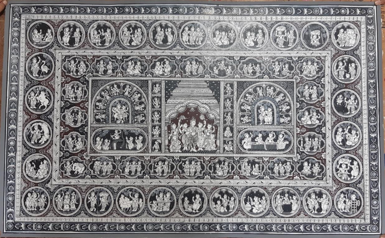 The story of Krishna , handpainted in Pattachitra art by Apindra Swain