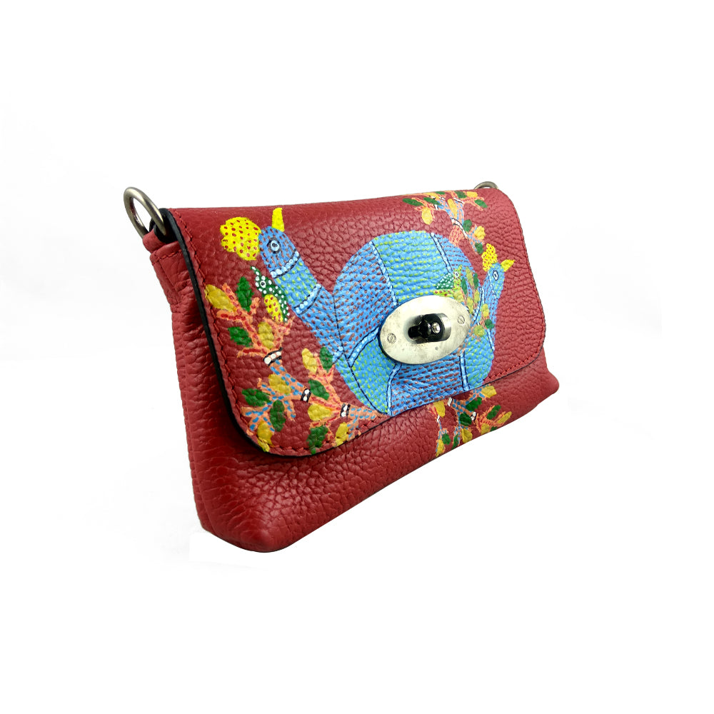 PEACOCKS MELODY, RED SADDLE BAG