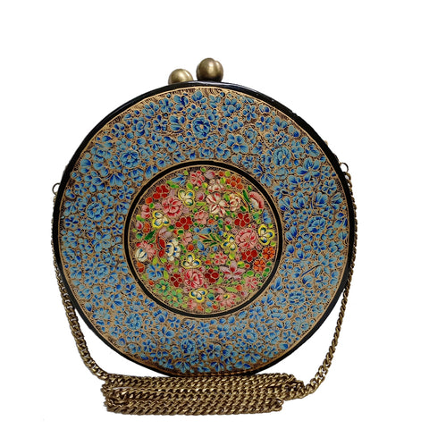 Blue flowers, ROUND PAPER MACHE CLUTCH