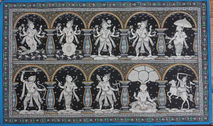 The story of Buddha , handpainted in Pattachitra art by Apindra Swain