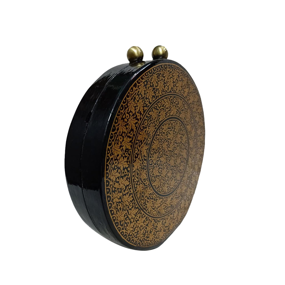GOLD CHINAR, ROUND PAPER MACHE CLUTCH