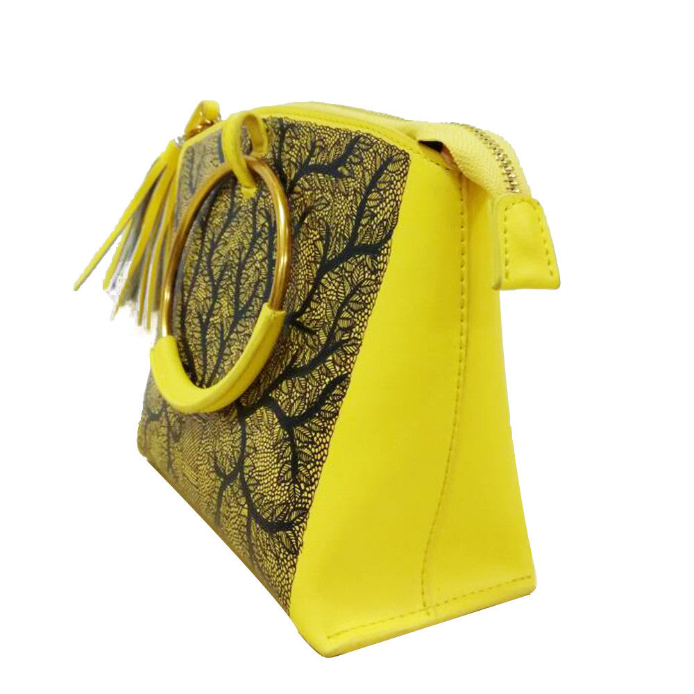 Seeds of love | Madhubani Art | Handpainted Crossbody Yellow leather bag