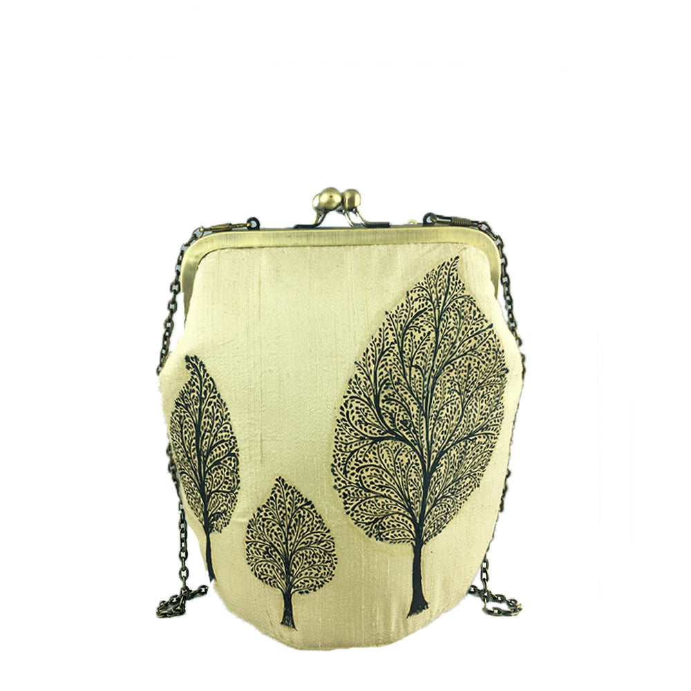 TREE OF LIFE, GOLD SILK CLUTCH