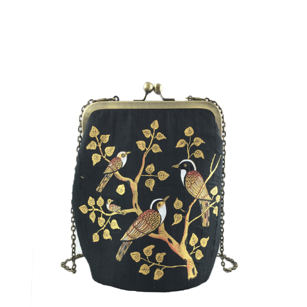 BIRDS OF A FEATHER, BLACK SILK CLUTCH