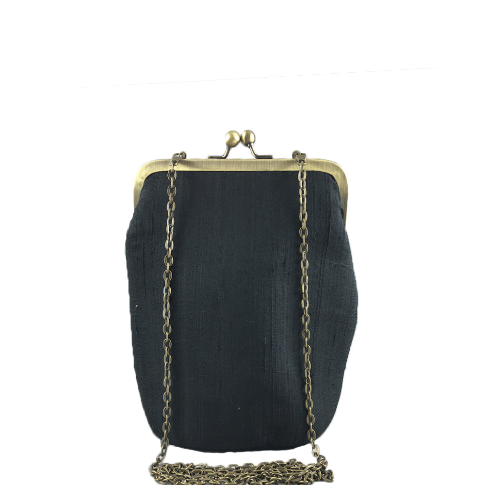 RETURN TO THE ROOT, BLACK SILK CLUTCH