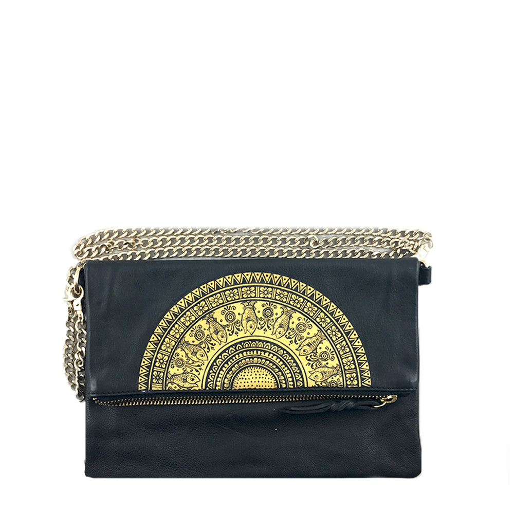 The Fish, Black Foldover Clutch/Sling