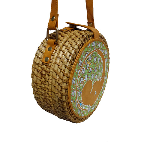 The Elephants Tale, Tan Round Cane Sling